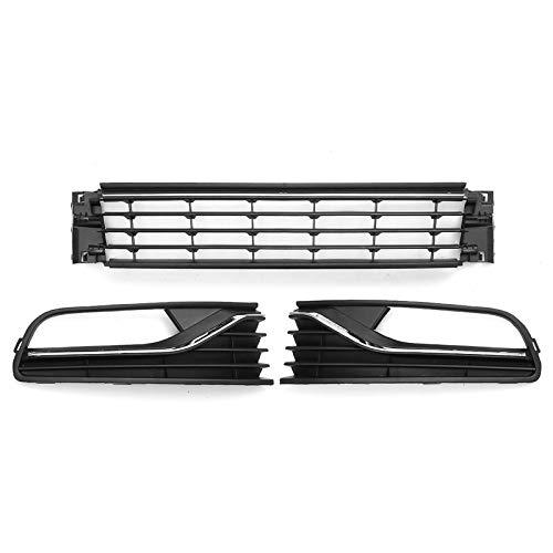 Rejilla luz antiniebla Niebla Lámpara Cubierta Parrilla Fit For VW Polo 2014-2017 Frente Coche Parachoques Inferior Niebla Recorta Light + Bajo Centro Parrilla Cubierta Racing Parrillas Negro