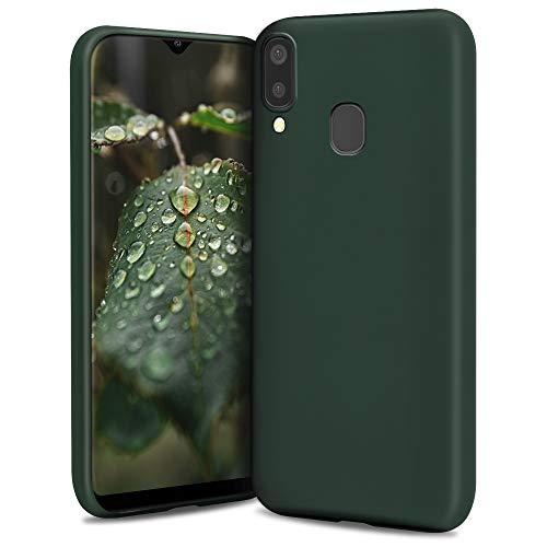 Moozy Lifestyle. Coque pour Samsung A40, Vert Foncé - Case en Silicone Liquide avec Finition Mate et Doublure en Microfibre Douce
