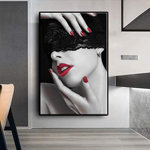UIOLK Modelo Creativo Labios Rojos Mujer Vestida de Negro sobre Lienzo impresin artstica Carteles e Impresiones Sala de Estar Dormitorio impresin