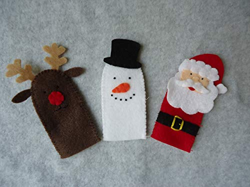 Christmas Finger Puppets, Santa Claus, Rudolph the Reindeer, Frosty the Snowman
