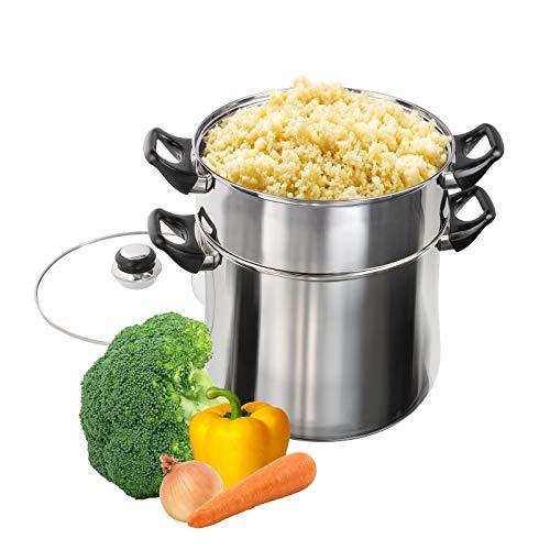 Induktion Edelstahl Couscous Topf mit Dampf Sieb Kochtopf Dampfgarer Siebeinsatz (Couscouskocher, Gemüse Dämpfer, 12 Liter, Glasdeckel)