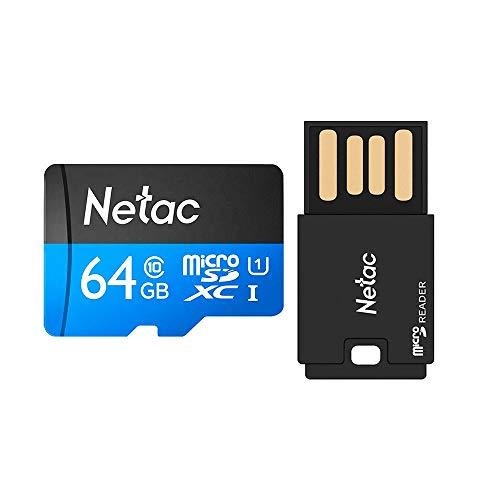 Cartão Memória Micro SD 64GB 80MBs Netac e ADPT USB