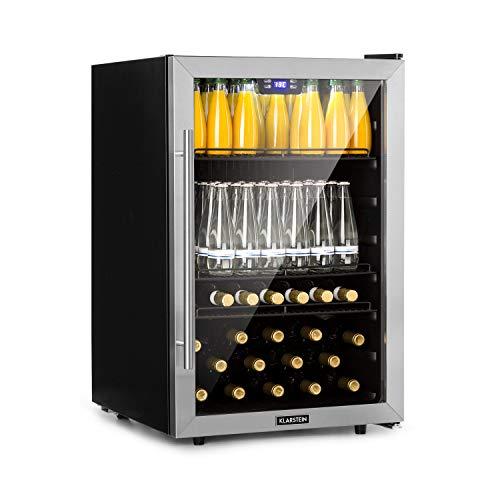 KLARSTEIN Beersafe XL - Refrigeratore Bevande, Frigorifero, Ripiani in Metallo, Porta a Vetro, Classe Energetica A+, Libera Installazione, Frontale in Acciaio Inox, 148 L, Nero