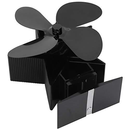 Fournyaa Träugnsfläkt, öppen spis värmefläkt, miljövänlig värmedriven fläkt, ugnsfläkt för värmefördelning hemma permanent förbättra (svart)