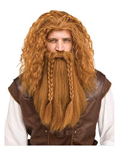 Horror-Shop Peluca Vikinga con Barba Roja