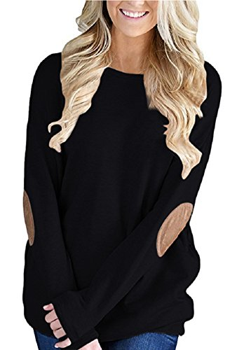 YIOIOIO Women Casual Loose Long Sleeve Solid Color Crewneck Elbow Patch Sweatshirt Tunic Tops, Black, Large