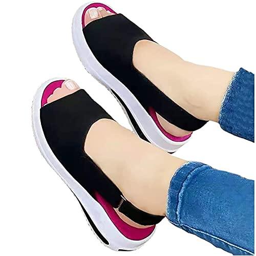 Uwhsag Sommer Sandalen Damen Pantoffeln Slippers Schuhe Bequeme Orthopädische Pantolette Hausschuhe rutschfest Sommer Aushöhlen Sandaletten Casual Slingback Open Toe Schuhe (Schwarz, 42)