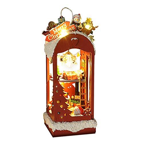 qianele DIY Casa de Navidad Modelo de madera Set Cabin Cottage Casa de muñecas miniatura para edificio coleccionable o decoración del hogar