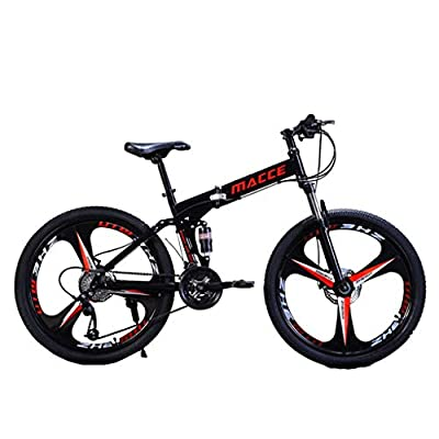 Libobo_HOME ?US Stock? Libobo Mountain Bike for Adult Teens 24/26 Inch Bike Mountain Bikes 21 Speed Folding Bicycle Ultra Lightweight Full Suspension MTB Bike for Men/Women (Black(26in))