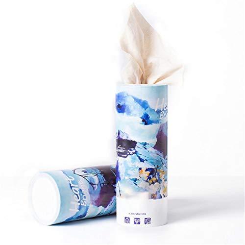Ronde tissue box drankhouder auto tissue opbergbox set 3 lagen wegwerpstof voor bureau, nachtkastje en badkamer blauw