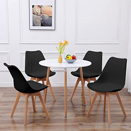 DORAFAIR Pack de 4 Sillas & Mesa, Juego de sillas de Comedor,Comedor de diseño nórdico, Negro