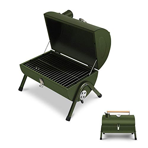 JJ JUJIN Charcoal Grill Portable BBQ Grill Foldable Barbecue Grills for Outdoor Cooking Camping and Picnic Green