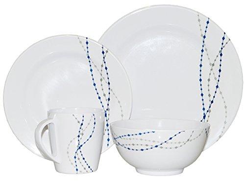 HEKERS Vaisselle 100 % mélamine - Blanc/bleu - Set de 16 pièces pour 4 personnes - Pour lextérieur, pique-nique, camping, lave-vaisselle