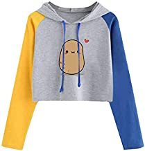 Meikosks Cute Graphic Sweatshirts Womens Long Sleeve Crop Tops Patchwork Casual Hooded Pullover
