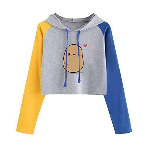 Camiseta corta para mujer y adolescente con estampado de huevos, manga larga, ligera, ideal como regalo