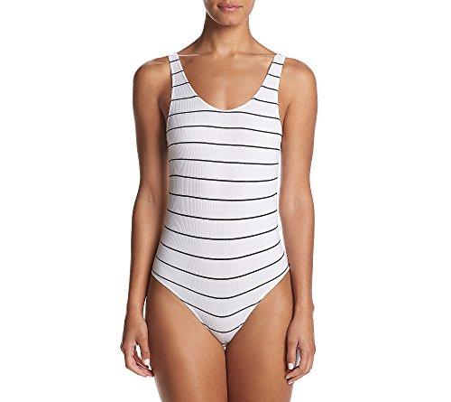 DKNY Women's Seamless Litewear Scoop Neck Rib Bodysuit w/Snap Closure, poplin Stripe Dark, Large