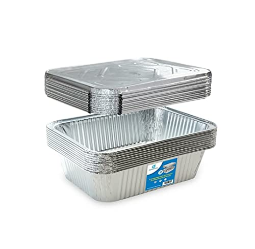 (10) 5-lb Oblong Deep Disposable Aluminum Pans with Lids - Foil Pans perfect for baking cooking food and storage container