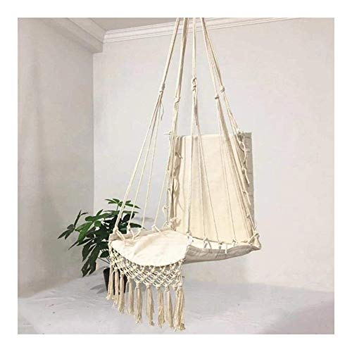 Outdoor home pillow hanging chair Hammock Chair Swing,Tassel Hanging Chair,Canvas children's swing chair,Comfortable Stylish Children's Swing Chair Ideal For Indoor,Outdoor,Home,Bedroom,Patio,Deck,Yar