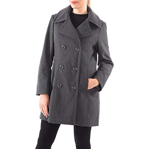 Alpine Swiss Norah Womens Wool Blend Double Breasted Peacoat Gray Large