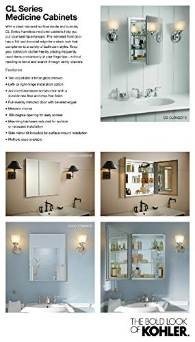 Kohler K-Cb-Clc2526Fs Frameless 25 Inch X 26 Inch Aluminum Bathroom Medicine Cabinet; ; Recess Or Surface Mount