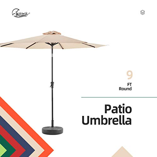 Wikiwiki 9ft Patio Umbrella Outdoor Market Table Umbrella with Push Button Tilt and Crank(Beige)