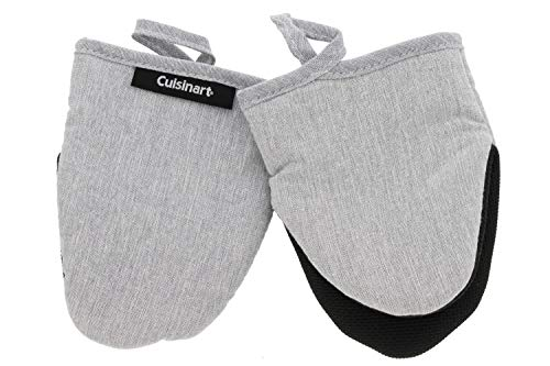 Cuisinart Chambray Neoprene Mini Oven Mitts, 2 Pack – Heat Resistant to 400 F – Handle Hot Kitchen Items – Non-Slip Mini Mitts with Insulated Pockets and Hanging Loop – Light Grey