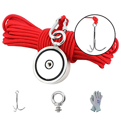 MHDMAG Double Sided Magnet Fishing Kit with Grappling Hooks and Gloves, 880lbs Combined Strength Super Strong Retrieval Neodymium Magnets with 100FT Rope for River Magnetic Recovery Salvage Fishing.