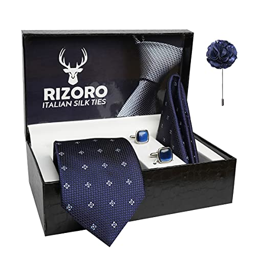 Rizoro Mens Plaid Dotted Silk Necktie Gift Set With Pocket Square Cufflinks & Brooch Pin Formal Tie With Leatherite Box (4D5RX Free Size)