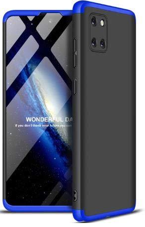 """Capa Capinha Anti Impacto 360 Para Samsung Galaxy Note 10 Lite com Tela de 6.7"""" Polegadas Case Acrílica Fosca Acabamento Slim Macio - Danet (Preta com Azul)"""