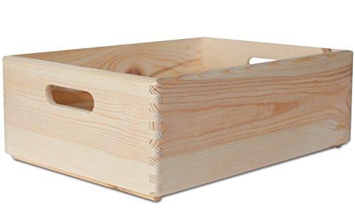 Creative Deco XL Große Holzkiste Obstkiste Korb | 40 x 30 x 14 cm | mit Griffen | ohne Deckel | Hölzernen Kasten Unlackiert Holzbox Kiste | Ideal für Dokumente, Wertsachen, Spielzeuge und Werkzeuge