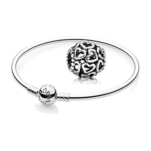 Original Pandora Geschenkset - 1 Silber Armreif 590713-17 mit Kugelverschluss + 1 Silber Element 790964 Herzstrudel