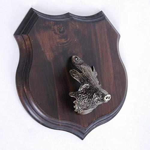 GTK – Escudo de Cuernos y trofeos, Madera de Corona, 1 x Escudo de jabalí con Forma de Escudo, AF 19 cm, con Cuernos de Cabeza Grande