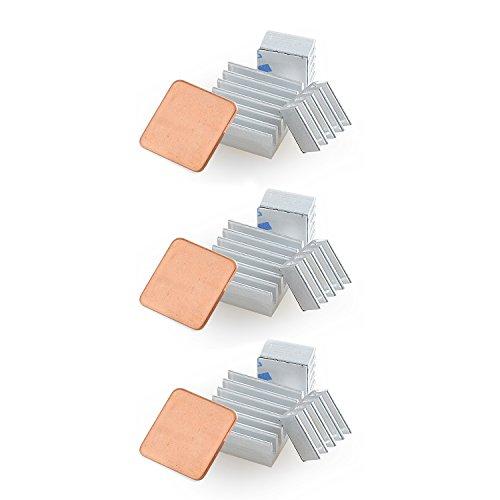 Aukru 12pcs Disipador de Calor de Aluminio para Raspberry pi 3 Modelo B/Pi 2 Model b/Pi B+Plateado