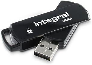 Integral 360 Secure - Memoria USB segura de 8 GB (256-bit AES, 12 MB/s), color negro