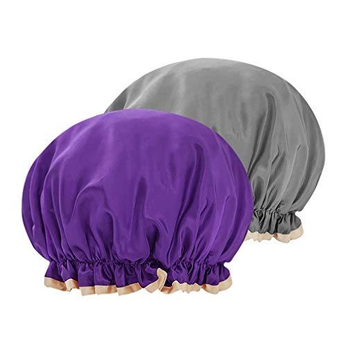 Bonnet de Douche Bonnet de Bain Elastic Band Spa Femme Bonnet de Couchage à large Bande Casquette de Maquillage Chapeau de Bain Réglable Shower Cap pour Dormir Sommeil, Gris+Violet
