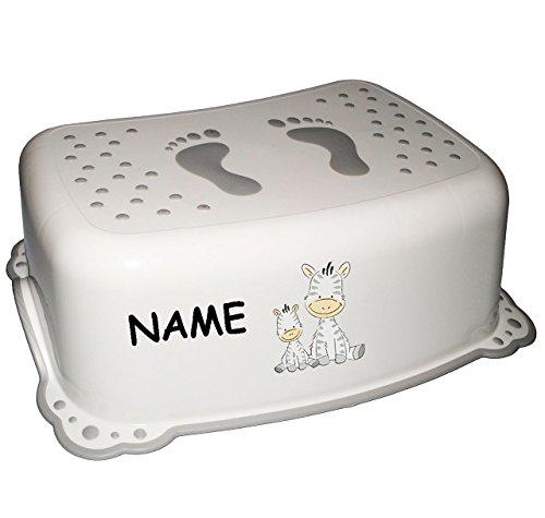 alles-meine.de GmbH Anti RUTSCH - Tritthocker / Trittschemel / Kindersitz -  Zebra - weiß  - incl. Namen - auch für Toilettentrainer - für Kinder Mädchen Jungen - Bad Kunststof..