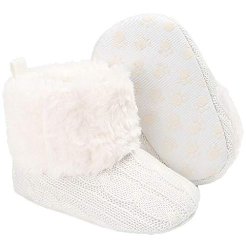 Yvinak Baby Boys Girls Winter Snow Boots Soft Sole Baby Boys Girls Faux-Fur Lined Winter Warm Boots(6-12 Months,White)