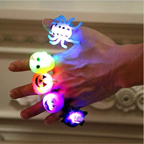 Anniup - Set di 5 anelli luminosi per Halloween, con teschio, fantasma, zucca, ragno e pistrello, idea regalo per bambini, ragazzi e ragazze e adulti