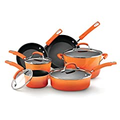 DURABLE NONSTICK COOKWARE SET: These pots and pans feature durable aluminum construction that heats quickly and evenly BOLD COLORS, EASY CLEANUP: The cookware set's stylish two-tone exterior color makes a bold style statement and long-lasting nonstic...
