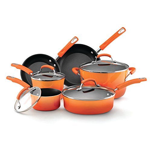 Rachael Ray 11480 Brights Nonstick Cookware Pots and Pans Set, 10 Piece, Orange Gradient