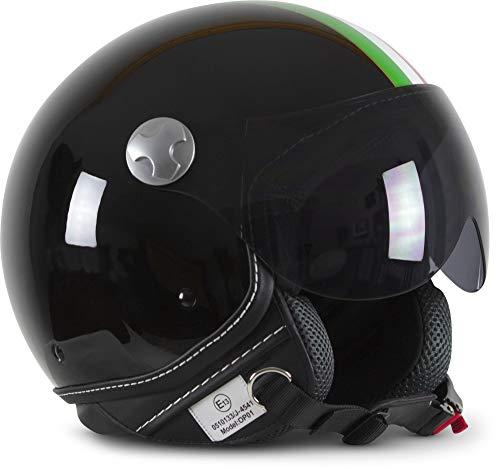 "ARMOR Helmets® AV-84 ""Italy Black"" · Casco jet · Casco de moto Roller-Helm Scooter-Helm Moped Mofa-Helm Chopper Retro Vespa Vintage · ECE 22.05 Visera de cierre rápido bolsillo S (55-56 cm)"