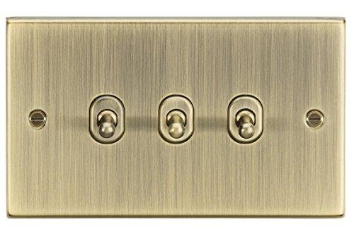 Knightsbridge CSTOG3AB - Interruptor de palanca (latón envejecido, 10 A, 3 G, 230 V)