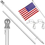 RUFLA Upgrade 6FT Flag Pole Kit Heavy Duty Aluminum Flagpole with 3'x5' Free American Flag for Residential Commercial Yard Outdoor House (Without Bracket)