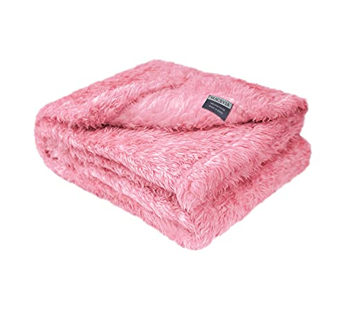 Macevia Fluffy Fleece Dog Blankets, Warm Soft Fuzzy Pets Blankets for Puppy, Small, Medium, Large Dogs and Cats, Plush Pet Throws for Bed, Couch, Sofa, Travel (24x29 Inch, Pink)