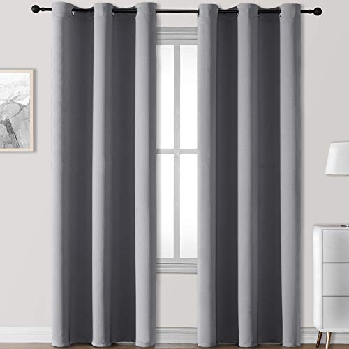 Rutterllow Blackout Curtains for Living Room, Thermal Insulated Window Drapes 2 Panels for Bedroom, Grommet Top (42x84 Inch, Dove Grey)