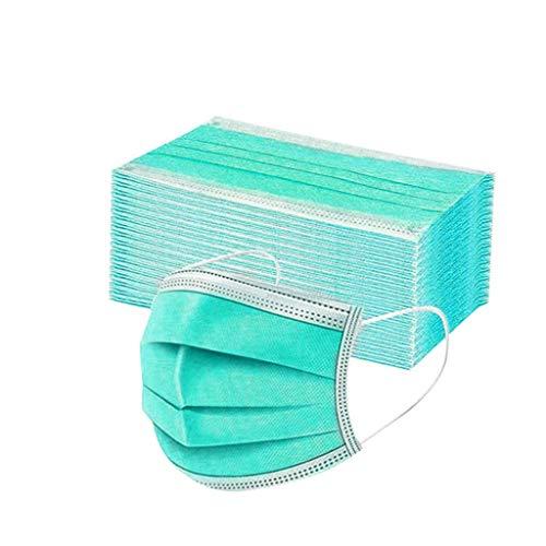 DIAU 10-100 Stück Erwachsene Einweg Mundschutz Multifunktionstuch, 3-lagig Mode Maske,Weiche Staubdicht Atmungsaktive Vlies Mund-Nasenschutz Bandana Halstuch (Pflanze grün)