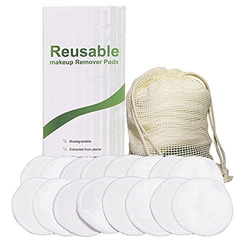 16pcs removedor de maquillaje lavable almohadillas de limpieza facial de la piel paño de limpieza (blanco)