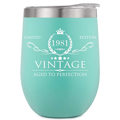 40th Birthday Gifts for Women and Men - 1981 40th Birthday Decorations - 40th Anniversary Gifts Ideas for Her, Mom, Dad, Wife, Husband - 12oz Mint Wine Tumbler, Double Wall Vacuum Cup w Lid