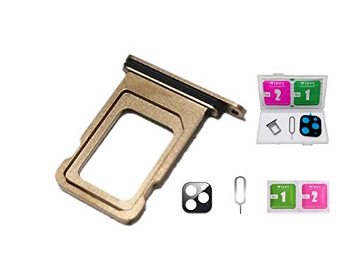 Real 11 Pro Max Single/Dual SIM Card Tray Slot Holder Adapter with Rubber Waterproof Gasket Ring for iPhone 11Pro Max +Micro USB Adapter (11 Pro Max-Gold, Dual SIM Edition)