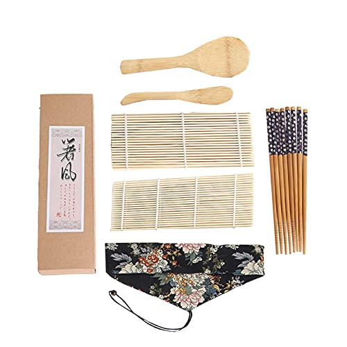 XUXUN 7 unids Conjunto de Sushi Cocina Nigiri Platos Cuchara de arroz para Hacer Sus Propios palitos de bambú Rolling Mat Makers de Sushi para Principiantes de Regalo